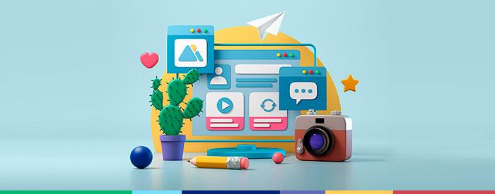 3D Illustration of blog creation items like a camera, internet, images, pencil, etc.