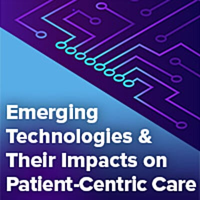 Emerging Technologies and their impact on Patient-Centric Care hero graphic illustration with blue light flowing out of computer chip
