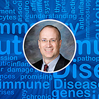 Autoimmune Diseases Blog Header with Eviti Branded Blue Gradient Overlay and Dr. Flood Headshot