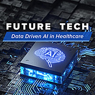 Computer motherboard and chip with a brain on it that says AI for artificial intelligence