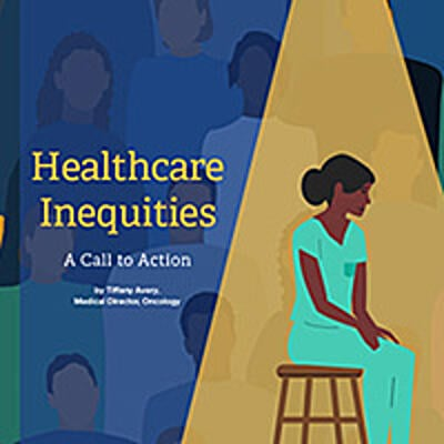 Illustration of nurse sitting on a stool with people of color in surrounding them in the background