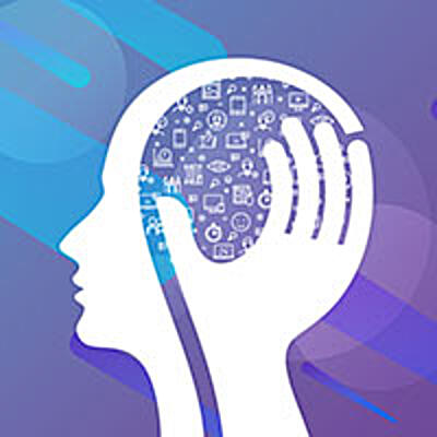 Head illustration with a hand holding data icons inside the head