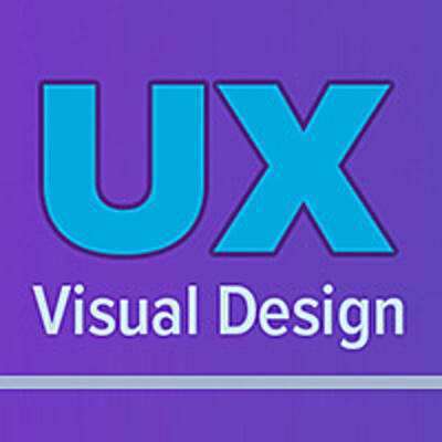 UX Visual Design graphic in blue and purple