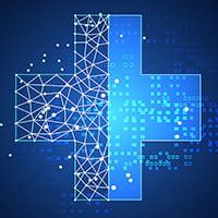 Blue digital looking healthcare cross
